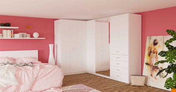 Weißer Eckkleiderschrank für Mädchen- oder Jugendzimmer